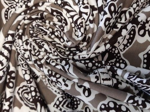 Taupe, black and off white design,  Viscose Jersey, BJ0015