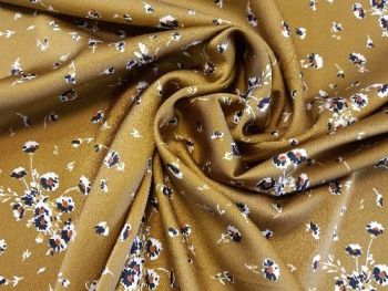 Mustard with blue floral design  Satin, PL0026