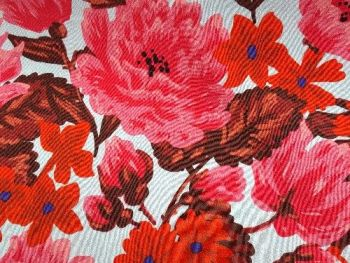Red floral with pale blue background, Viscose  VC0001