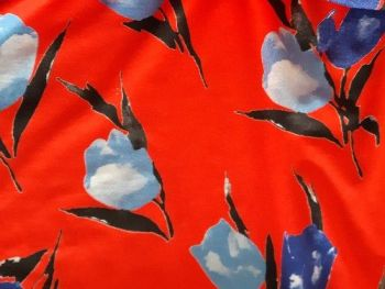Tulips on a red background   Viscose lycra Jersey, BJ0013