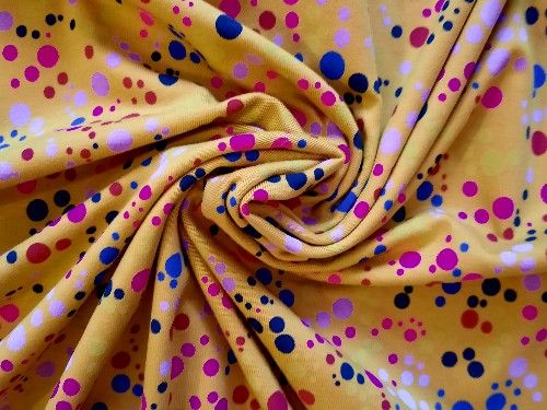 Mustard with pink spots Cotton Jersey, BJ0004