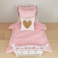 Gold Glitter Heart Cushion