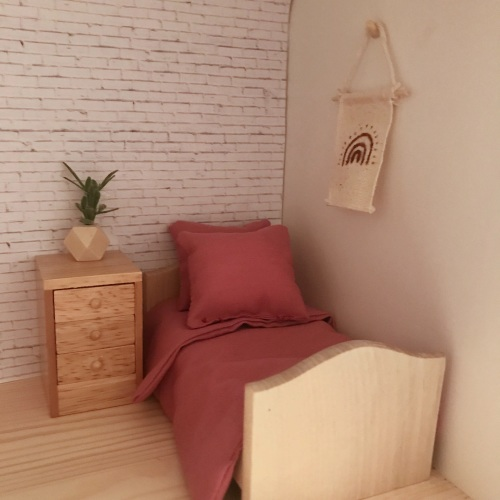 Natural Wooden Single Bed