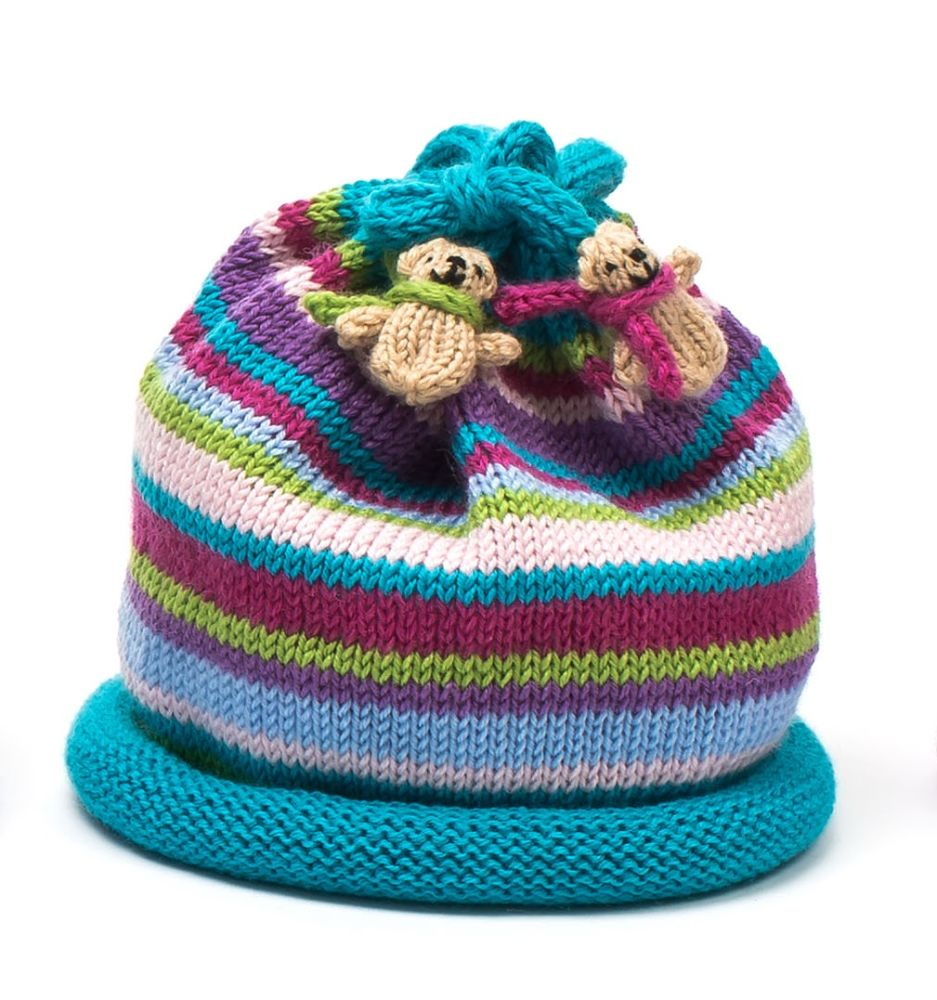 Multi Stripe Baby Teddy Hats