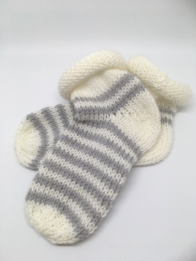 White & Grey Baby Socks