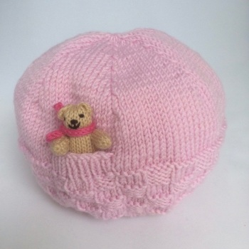 Pale Pink Hand Knitted Teddy Hat