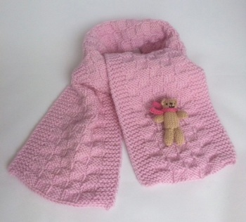 Pale Pink Hand Knitted Teddy Scarf