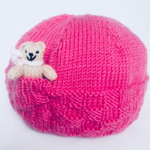 Fuchsia Pink Hand Knitted Teddy Hat