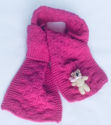Fuchsia Pink Hand Knitted Teddy Scarf