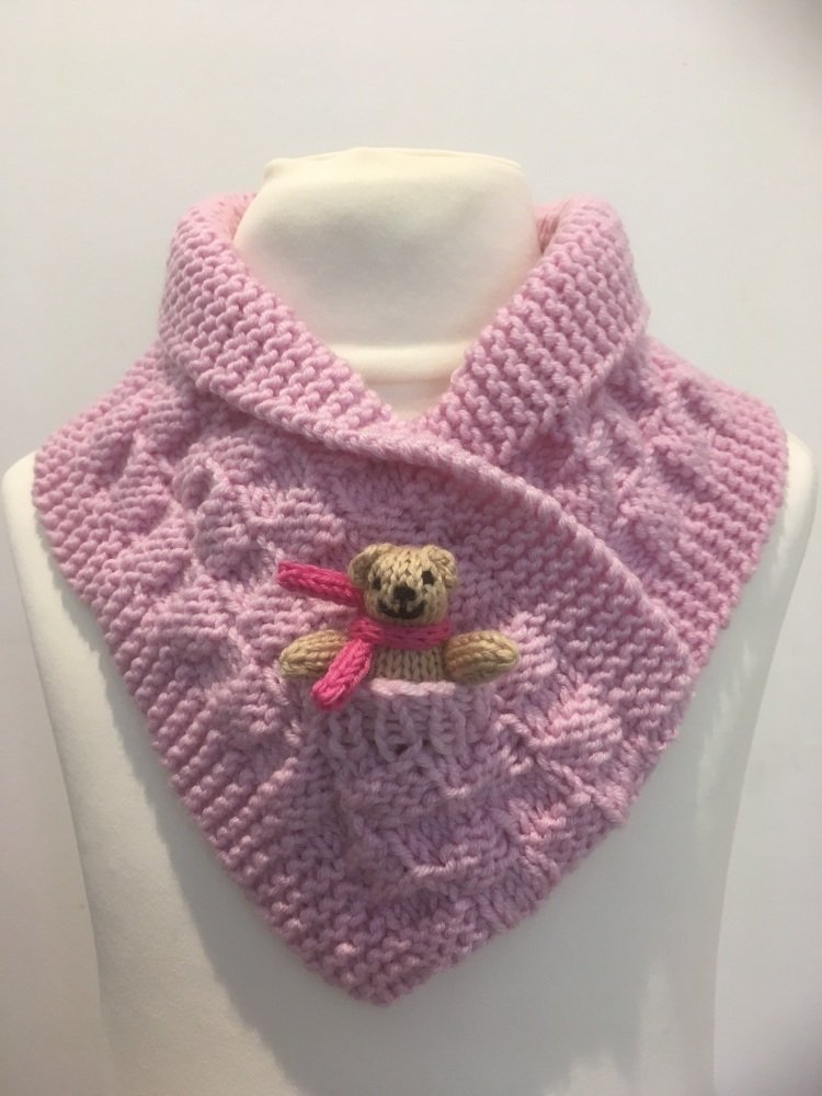 Pale Pink Hand Knitted Teddy Snuggle Neck Warmer