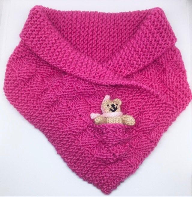 Fuchsia Pink Hand Knitted Teddy Snuggle Neck Warmer