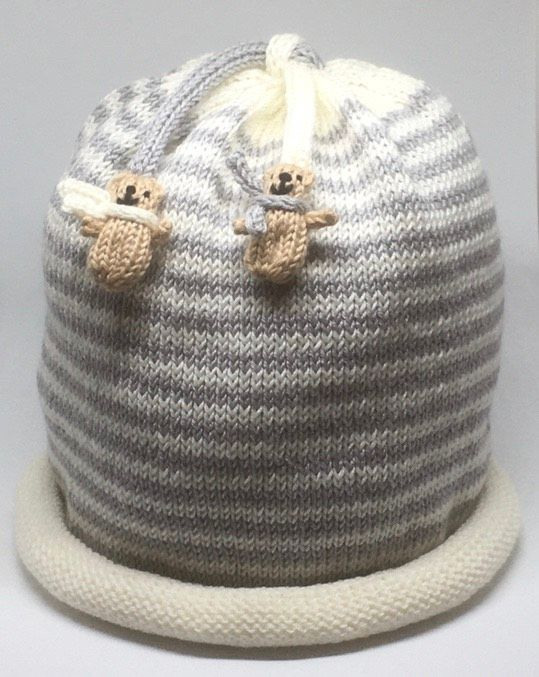 Two Stripe Beanie Teddy Hat for Toddlers