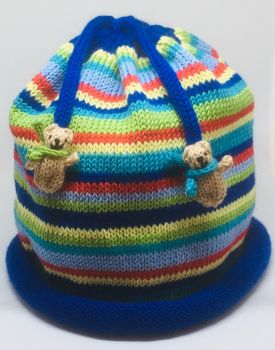 Multi Stripe Beanie Teddy Hat for Toddlers