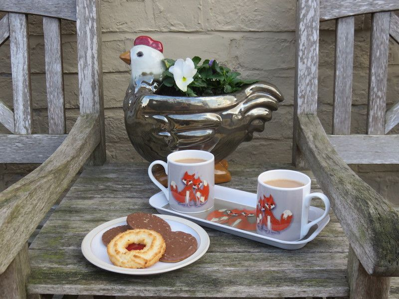 Tea and biscuits on the doorstep