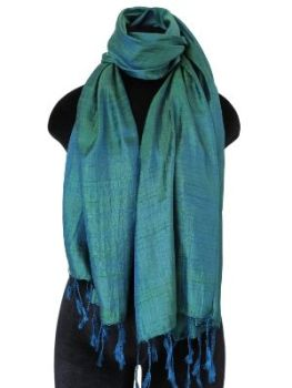 green and  Blue Silk Scarf