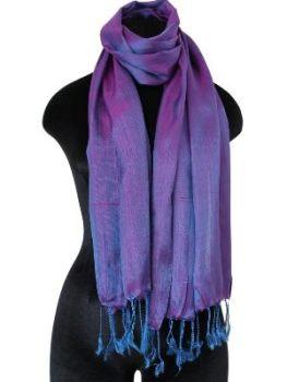 cerise and blue Silk Scarf