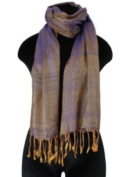 Bronze and blue Silk Scarf
