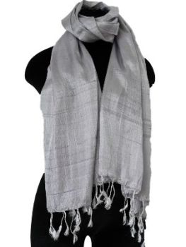 Silver and grey silk scarf