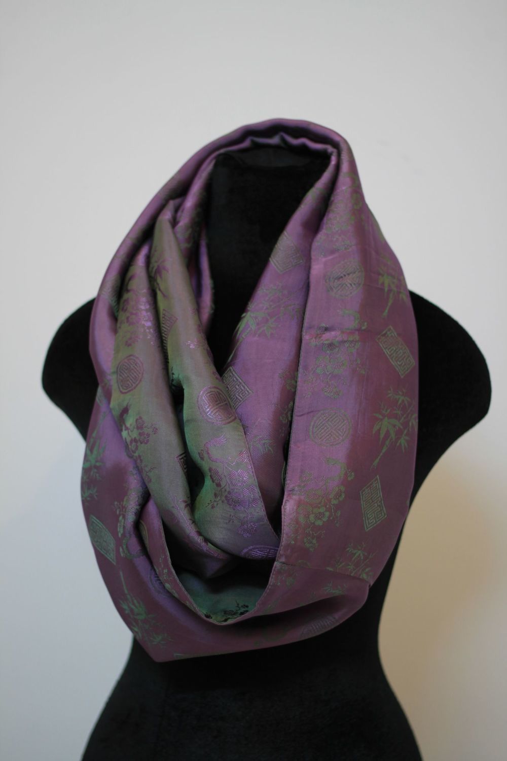 pink and green Infinity Scarf