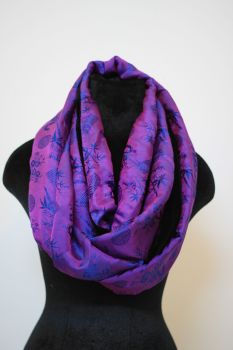 Purple and Blue Infinity Scarf with velvet