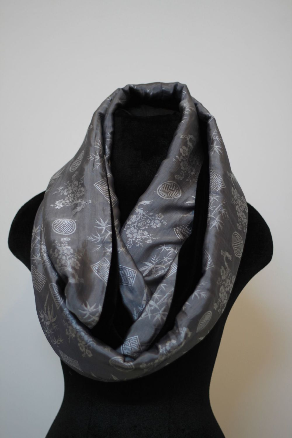 Silver and grey infinity scarf with black velvet