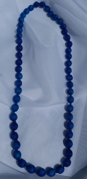 Blue Silk Beaded Necklace