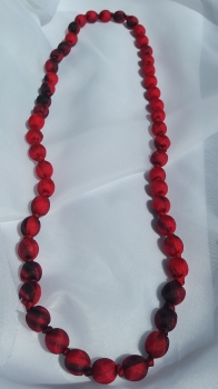 red silk beaded necklace