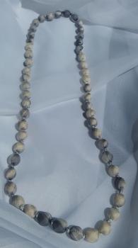grey silk beaded necklace