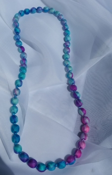 light blue and pink silk beaded necklace