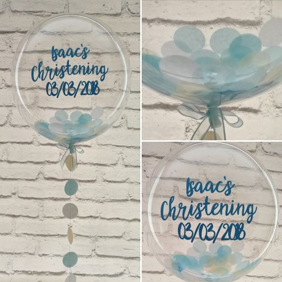 Inflated blue confetti balloon