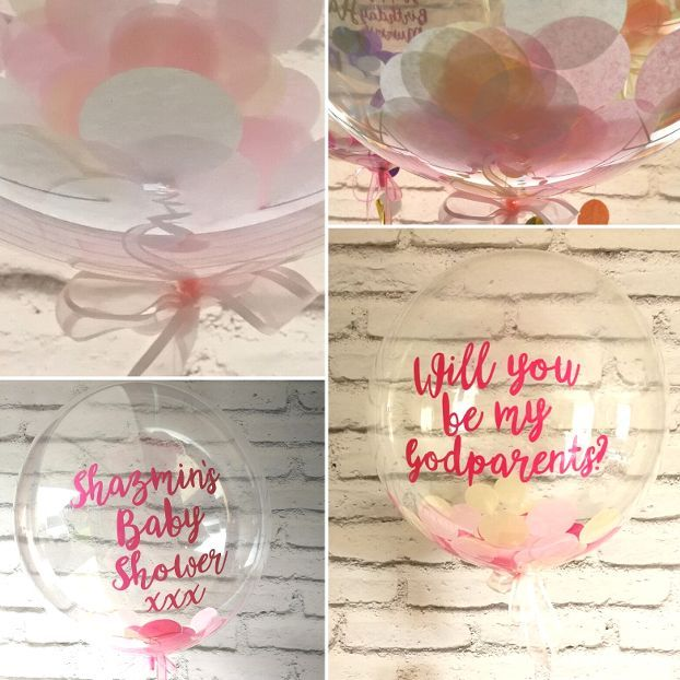 Inflated baby pink confetti balloon
