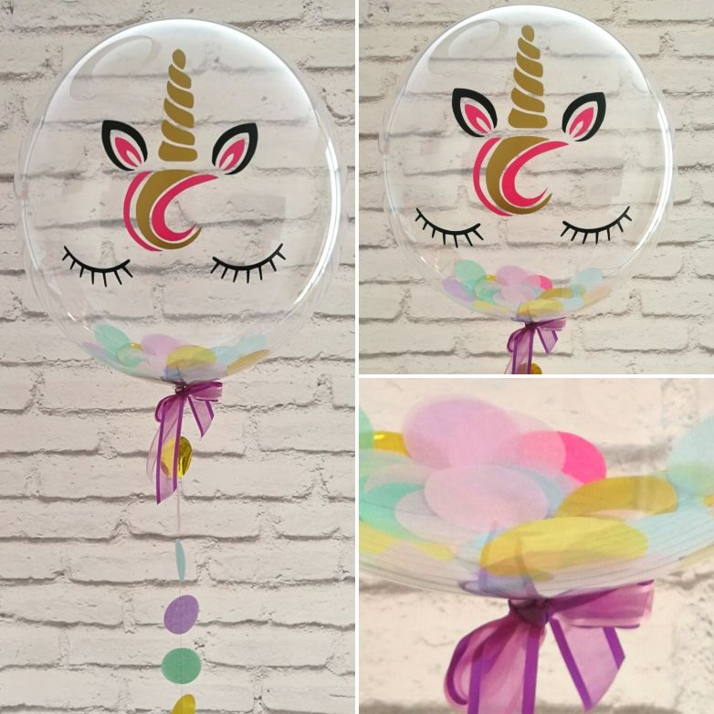 Inflated Unicorn Balloon in a box