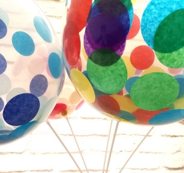 6 x 10″ Confetti filled clear latex balloons