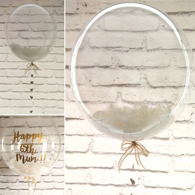 Ivory feather balloon in a box