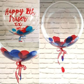 Red, white and blue confetti balloon