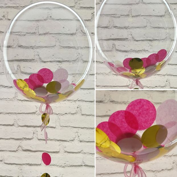 Pink and gold confetti balloon