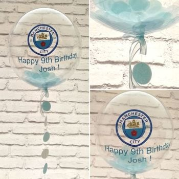 Inflated Football Club confetti filled balloon