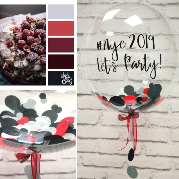 Stylish black and red confetti balloon