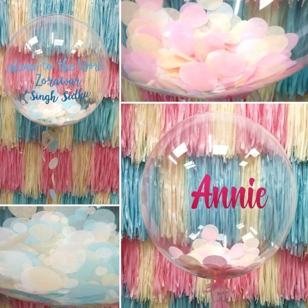 baby shower backdrop and balloons