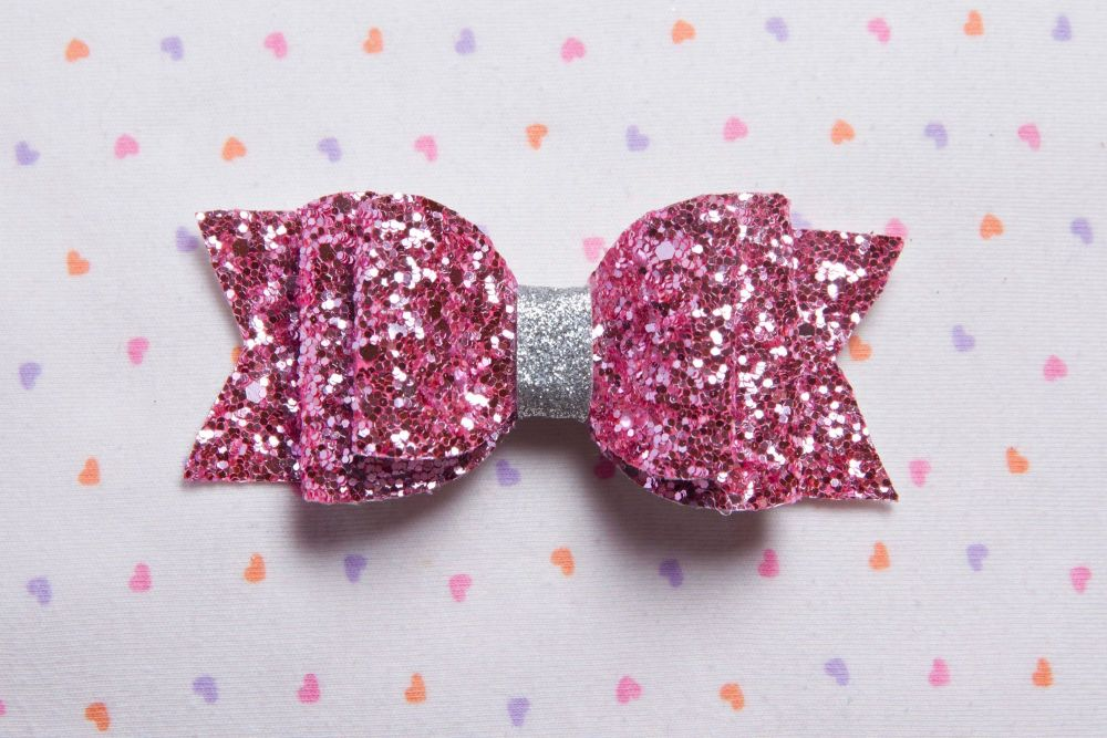 Pink Chunky Glitter Bow