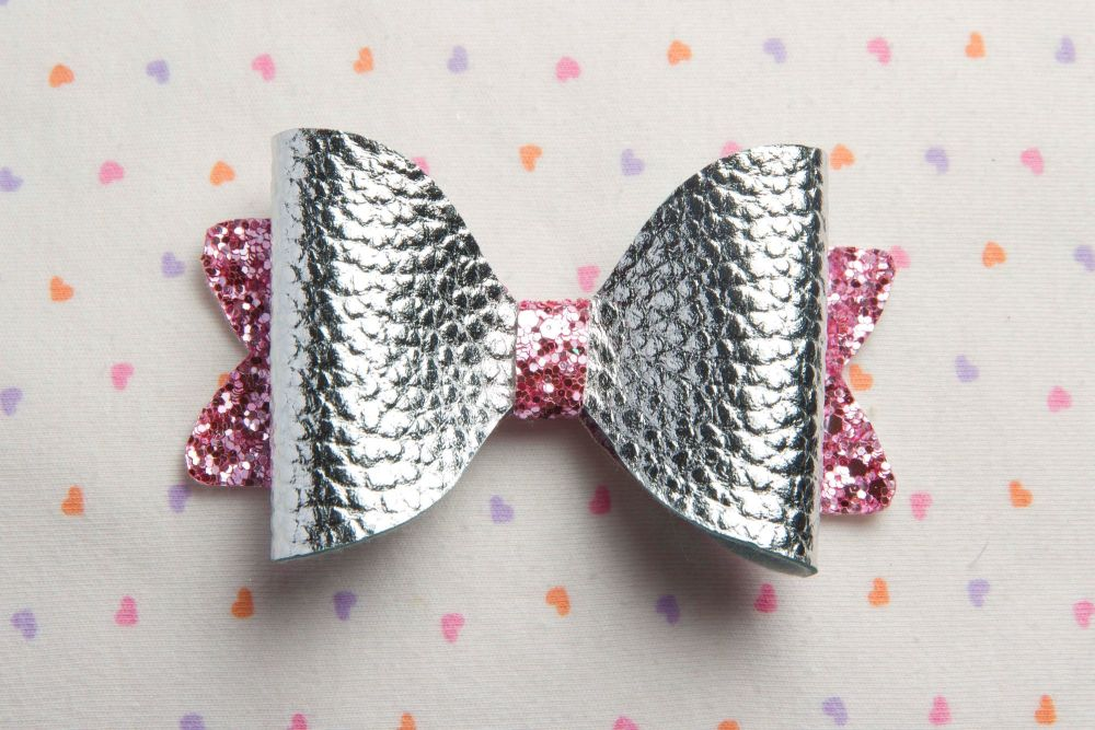 Metallic Silver on Pink Glitter