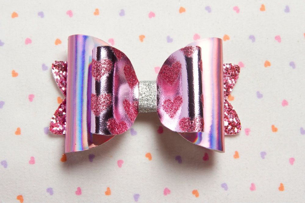 Hearts on Hologram Bow