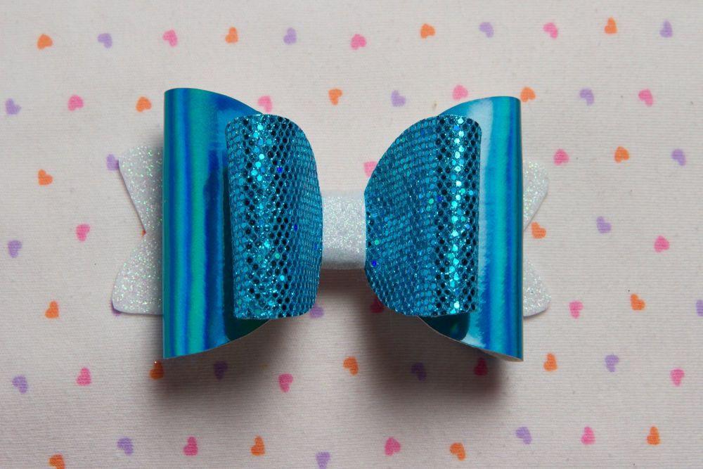 Blue Honeycomb Hologram Bow