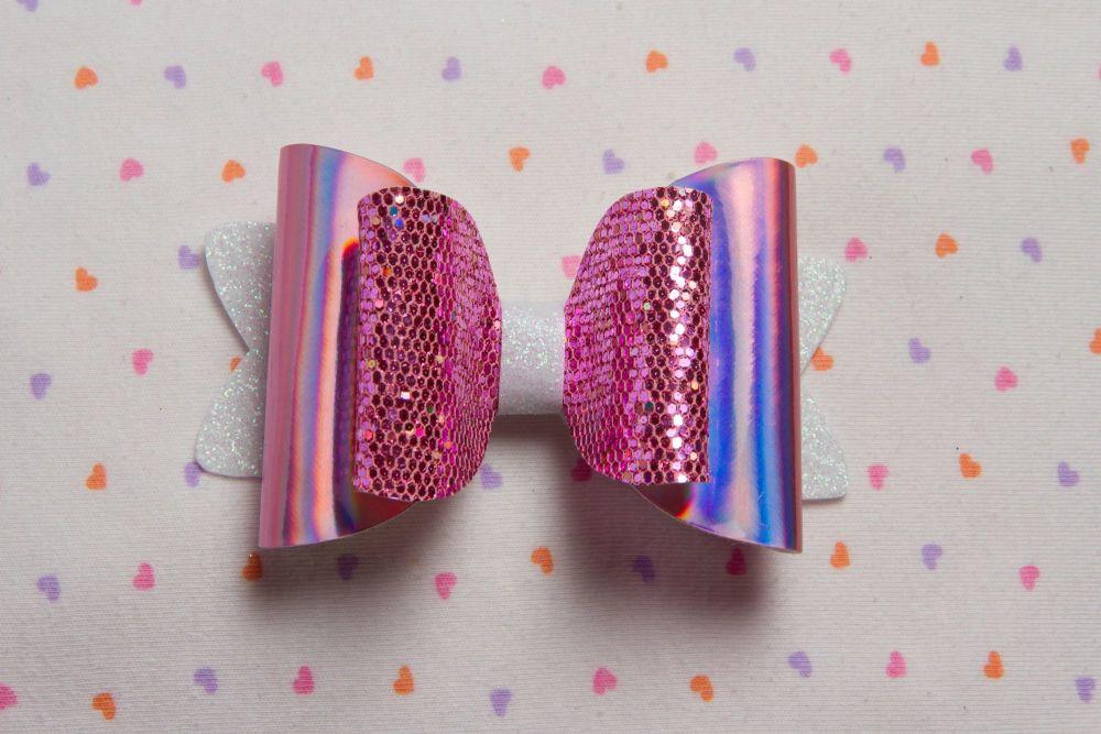 Pink Honeycomb Hologram Bow
