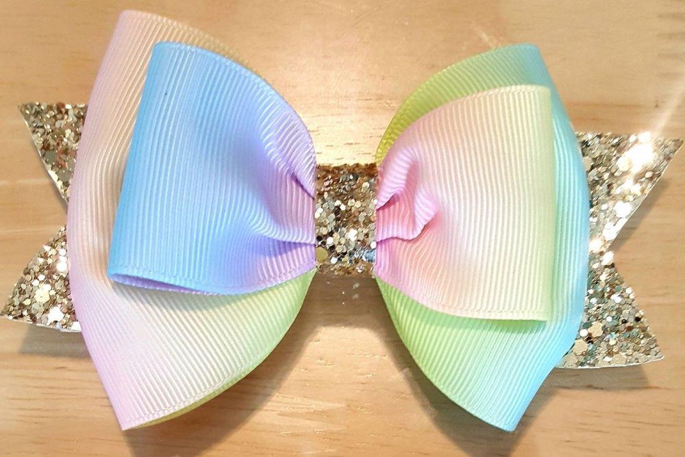 Rainbow Grosgrain Gold Glitter Large Bow
