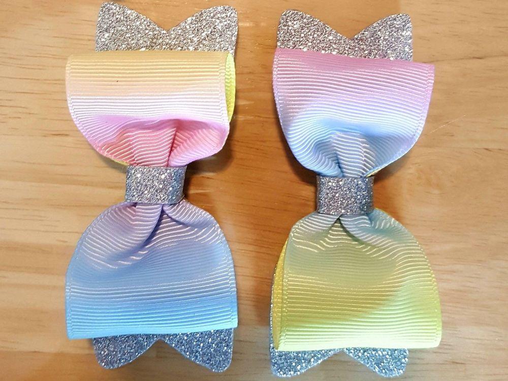 Rainbow Grosgrain Silver Fine Glitter Bow Pair
