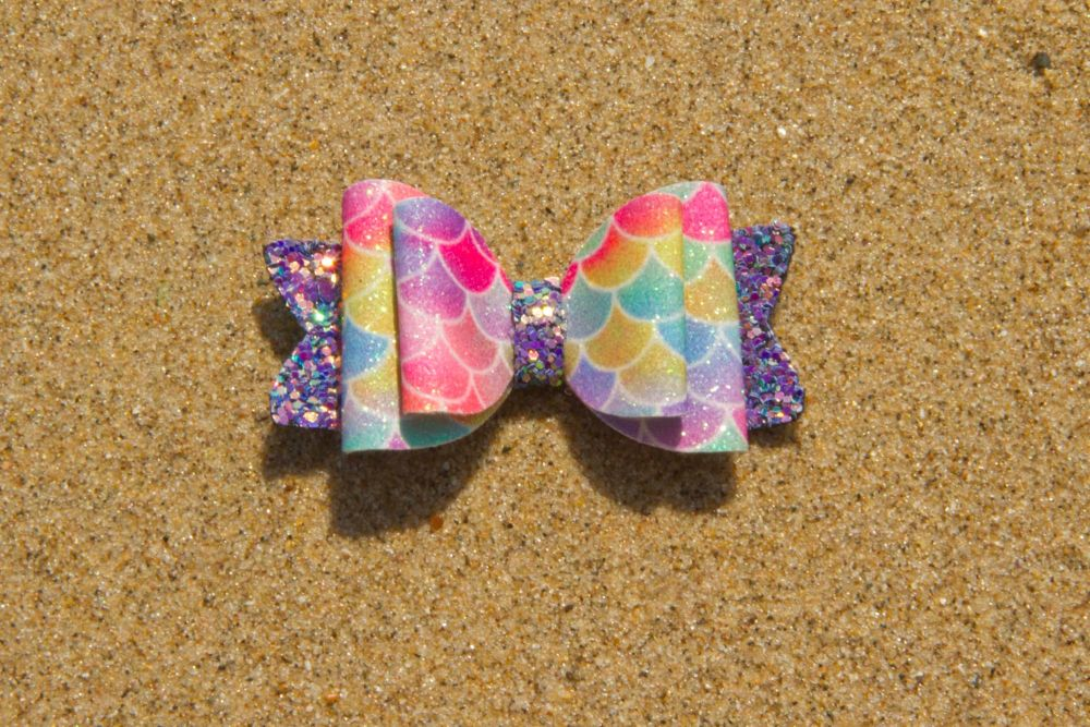 Mermaid Scales Bright Colours Baby Bow