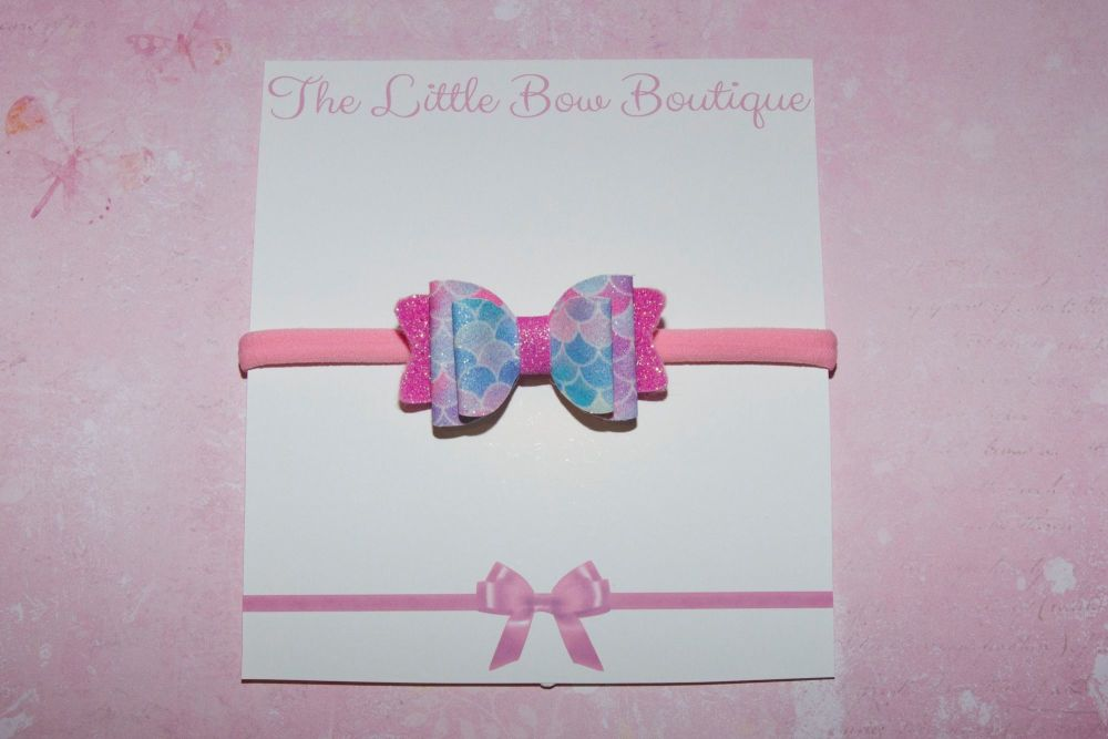 Mermaid Scales Pastel Colours Baby Bow