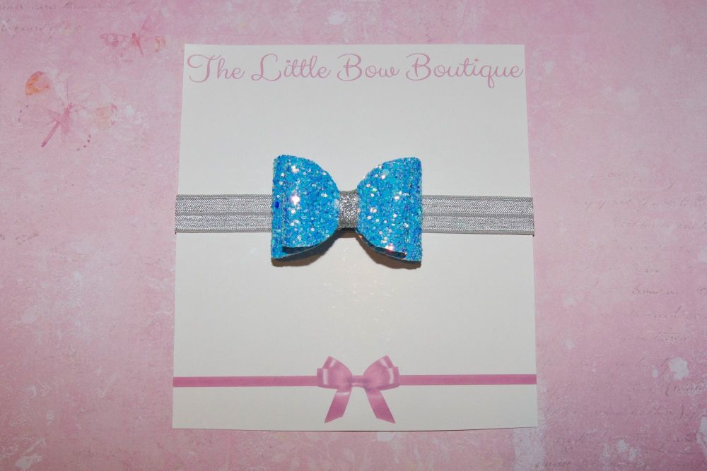Iridescent Multi Toned Blue Baby Bow