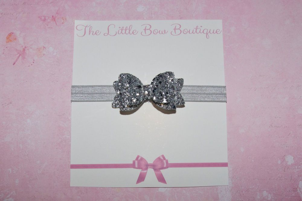 All Silver All Glitter Baby Bow